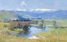View The Murray and the Mountain By Arthur Streeton; oil on canvas; 64 x 102 cm; Access more artwork lots and estimated & realized auction prices on MutualArt. Watercolor Landscape, Abstract Landscape, Landscape Paintings, Landscape Design, Australian Painting, Australian Artists, Beautiful Paintings, Beautiful Landscapes, Oil Painting On Canvas