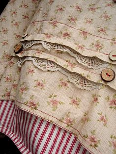 Search / Shabby Chic / Links to someone's sewing site that includes cool 'peasant' out-of-doors summer wear Ticking Stripe, Estilo Fashion, Chenille, Linens And Lace, Vintage Textiles, Sewing Hacks, Sewing Crafts, Fashion Details, No Frills
