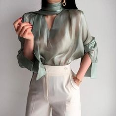see through blouse Mesh Top Sheer Blouse romantic Top Sexy TopSheer Clothing loose Top See Through Shirt shirts for women Manea Denisa Mesh Tops, Mode Outfits, Fashion Outfits, Womens Fashion, Fashion Tips, Fashion Trends, Fashion Websites, Modest Fashion, Fall Outfits