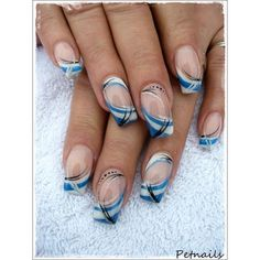 Image via Fancy Nail Art Designs Image via Fantastic French Manicure Ideas for 2015 Image via Black and Gold Dotted Fancy Nail Tutorial Image via Fancy Nail Art Image Fancy Nail Art, Trendy Nail Art, French Nails, French Manicure Nails, Manicure Ideas, Galeries D'art D'ongles, Hair And Nails, My Nails, Blue Nail Designs