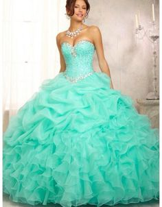 Two Piece Lace Turquoise Quinceanera Dresses With Beaded Crystal ...