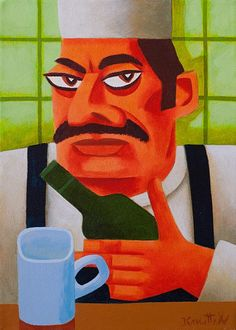 Graham Knuttel-Irish Coffee '' #art #painting #chef #DukeStreetGallery #GrahamKnuttel