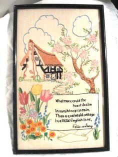 ENGLISH COTTAGE SAMPLER Needlepoint Embroidery Cross stitch Candlewicking Needlework England on Etsy, Sold