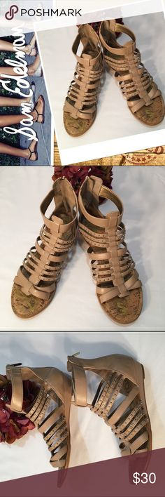 Sam Edelman gladiator sandals Sam Edelman Dale studded gladiator mini wedge sandals, size 10. Real cork sock insole, faux nude colored leather, goes with everything! Minor scuffs on on shoe, not noticeable, excellent used condition, smoke free home! Sam Edelman Shoes Sandals