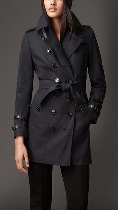 Burberry London Leather Detail Gabardine Trench Coat