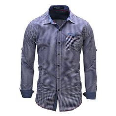 Casual Business Slim Fit Pure Cotton Small Plaids Printing Long Sleeve... ($22) ❤ liked on Polyvore featuring men's fashion, men's clothing, men's shirts, men's casual shirts, mens slim shirts, mens collared shirts, mens long sleeve collared shirts, mens casual dress shirts and mens plaid dress shirts