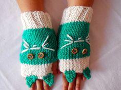 Gloves Handmade, Crocheted Gloves, Mittens, Gloves Teal, Cats, Fingerless Gloves, Winter Gloves, Hand Warmers,Gloves,Women Gloves,Gift Ideas