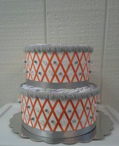 Grey  Orange  White Fox 2 Tier  Diaper by ReadyMadeDiaperCakes