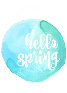 hello spring free printable in light blue and teal at thehappyhousie.com