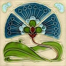 Art Nouveau Fan Flower Tile Coaster by BingBungalowDesignHouse - CafePress Motifs Art Nouveau, Azulejos Art Nouveau, Design Art Nouveau, Art Nouveau Flowers, Jugendstil Design, Decorative Wall Tiles, Art Nouveau Tiles, Arts And Crafts Movement, Flower Backgrounds