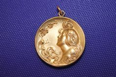 Gorgeous Antique Art Nouveau Repousse Gold Filled Pendant Woman Lady w Flower