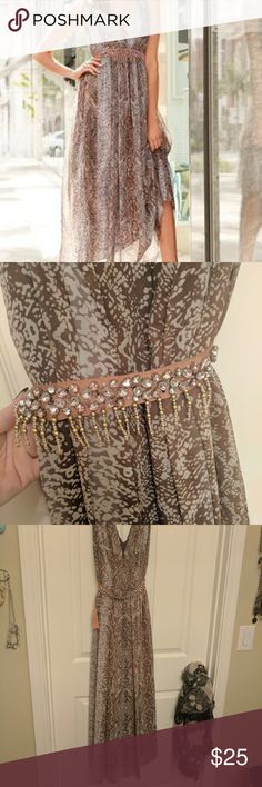 Snake print dress with jeweled tie waist Worn twice! Always a big hit!! Belt tie comes completely off if you want to wear without or add the gorgeous belt to another outfit. Boston Proper Dresses