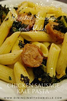 Chicken Sausage Kale Pasta is a Dinner Bowl Full of Penne Pasta, Roasted Sausage and Roasted Kale! The Simple ingredients in this Pasta creates a light and Healthier Meal! #dininginwithdanielle #chrisdoeswhat #homaidchef #sausagepasta #sausagekalepasta #pasta #pastabowl @chrisdoeswhat @ChrisDanielleRedding Penne Pasta Recipes, Best Pasta Recipes, Pasta Dinner Recipes, Pasta Dishes, Healthy Recipes, Sausage Pasta, Chicken Sausage, Dessert Pasta, Kale Pasta