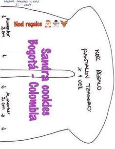 Papá Noel con regalos muñeco de tela con moldes (8) Chart, Toy Story, Cookies, Christmas, Diy And Crafts, Crafts, Xmas, Gift, Feltro
