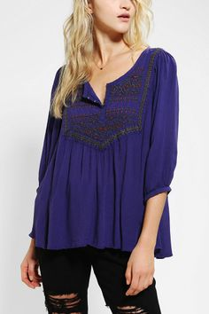 Ecote Embroidered Gauze Tunic