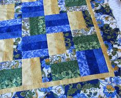 Rail fence quilt - love the colors.