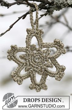"Kerstster van ""Cotton Viscose"" en ""Glitter"". ~ DROPS Design"