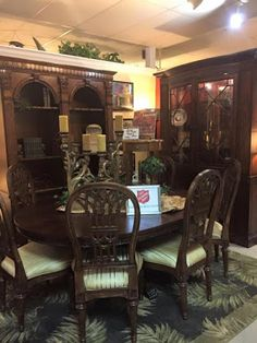 JUST IN | Shop this gorgeous new bookcase, curios cabinet and dining set that just arrived in our Family Store. We are open today 10 am - 4 pm at 2255 Davis Blvd.