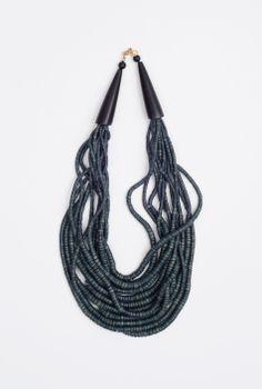 Vintage Blackish Blue Multistrand Necklace