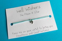 ♥ The message on the card is inspired by the charm and what it symbolises. For example : The Moon and Star - Keep me on your wrist you bring you Happiness and Good Fortunes. Good Fortune, Travel Gifts, Stars And Moon, My Etsy Shop, Bring It On, Happiness, Messages, Make It Yourself, Inspired