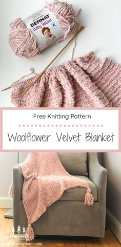 The Woolflower Velvet Blanket is a beginner-friendly knit blanket that features easy knit and purl stitches and uses ultra-soft and squishy velvet yarn. The pattern includes 3 different sizes for baby, lapghan, and throw with optional added tassels. This quick and cozy free knitting pattern is the perfect gift or home decor addition for fall! #freeknittingpattern #blanketknittingpattern #knitbabyblanket #knitthrowblanket #velvetyarn Easy Blanket Knitting Patterns, Easy Knit Baby Blanket, Free Baby Blanket Patterns, Beginner Knitting Patterns, Knitted Baby Blankets, Knitted Throws, Beginner Knitting Blanket, Baby Blanket Knitting Pattern Free, Knitting Blankets