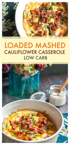 This loaded mashed cauliflower casserole is a delicious low carb side dish for the holidays. Only 3.6g net carbs per serving. #lowcarbsidedish #lowcarb #mashedcauliflower