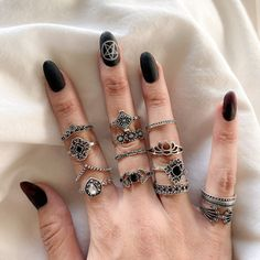 Black Ring Sets - Choose from 3 Sets! Hipster Rings, Hipster Jewelry, Weird Jewelry, Body Jewelry, Jewellery, Edgy Nails, Matte Nails, Witch Nails, Casual Rings