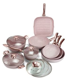 SingSale - Stone Rose Coating 8 Piece Essential Metalised Rose Gold Handles Aluminium Pan Set With Glass Cover Kitchen Items, Kitchen Utensils, Kitchen Gadgets, Kitchen Decor, Cooking Utensils, Kitchen Tools, Rose Gold Decor, Stone Roses, Copper Kitchen