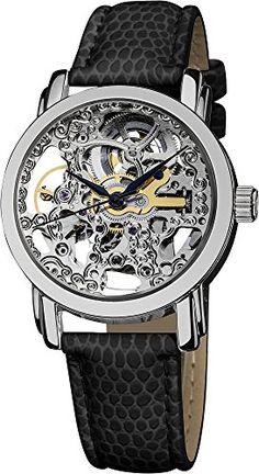 Akribos XXIV Women's AKR431SS Stainless Swiss Automatic Skeleton Watch