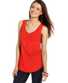 Style&co. Pleated Button-Front Tank Top