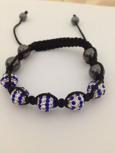 Blue/White Plus 4 Black Ball Black Rope Disco Ball Shamballa Jewelry Aaa Crystal