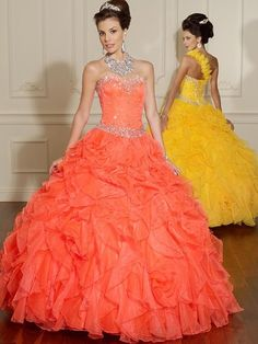 Orange and yellow dresses with rhinestones