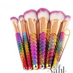 Mermaid makeup brushes... because why not? #mermaid #makeup #makeupbrushes