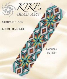 Bead loom pattern - Strip of stars - LOOM bracelet PDF pattern instant download
