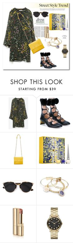 Get the look by vkmd on Polyvore featuring Zara, Gucci, Lanvin, Alex and Ani, Marc by Marc Jacobs, Christian Dior, Dolce&Gabbana, Christian Louboutin, women's clothing and women's fashion
