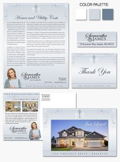 """""""Keystone Elegance"""" Beautiful #branding with delicate blue-grays and floral corners."""