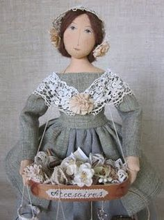 Evi creates the sweetest vintage inspired fabric dolls!
