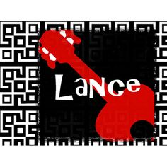 Red Guitar Stretched Canvas