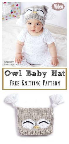 Cute Owl Baby Hat Free Knitting Pattern and Video Tutorial