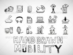 Hand Drawn Mobility Icons Doodles by antishock Vector illustration. Fully editable vector. All design elements included in EPS file (use of Adobe Illustrator or other vector gra