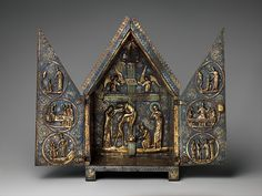 Tabernacle of Cherves. Date: ca. 1220–1230 Geography: Made in Limoges, France Culture: French Medium: Copper (plaques): engraved, scraped, stippled, and gilt; (appliqués): repoussé, chased, engraved, scraped, and gilt; champlevé enamel: medium blue, turquoise, medium green, yellow, red, and white, modern wood mount