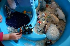 Summer isn& the only time kids can enjoy the water table. Here are some creative ideas for using your water table year round. Sensory Tubs, Sensory Boxes, Sensory Activities, Craft Activities For Kids, Winter Activities, Infant Activities, Sensory Play, Learning Activities, Kindergarten Sensory