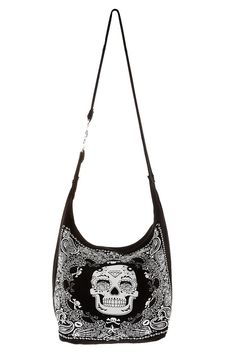 SUGAR SKULL BANDANA HOBO BAG  $19.50 - lady bags and purse, black and brown leather bag, clutch shoulder bag *ad