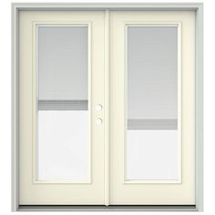 JELD-WEN 72 in. x 80 in. French Vanilla Prehung Left-Hand Inswing French Patio Door with Brickmould and Blinds