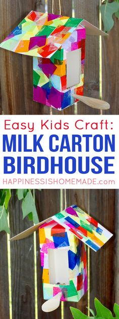 Milk Carton Birdhouse + Bird Feeder Kids Craft - Recycled milk carton birdhouses and bird feeders are a fun quick and easy kids craft that anyone can make! Perfect for kids of all ages!