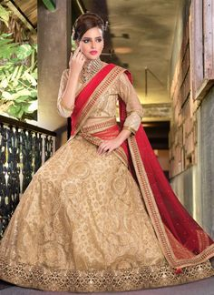Everyone will admire you when you wear this clad to elegant affairs. Be ready to slip in the comfort zone of beige net a line lehenga choli. The embroidered, patch border and zari work on attire perso...