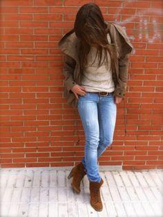 nataliachamps Outfit  parka casual Jeans jersey hilo botines tacón  Primavera 2012. Combinar Jeans Azul Petróleo Stradivarius, Jersey Beige Stradivarious, Cómo vestirse y combinar según nataliachamps el 21-5-2012
