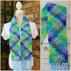 I'm in love with planned yarn pooling! This child-size scarf is done in crochet using Red Heart Super Saver in Wildflower and using the moss stitch. I love the zigzag pattern it makes on its own! Planned pooling is my new favorite.