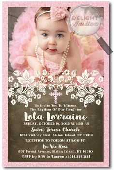 This gorgeous vintage inspired lace baptism invitation is the perfect choice for your upcoming baptismal celebration. With beautiful vintage lace accents and custom fonts, this baptism invitation design is truly spectacular in person! Baptism Themes, Baptism Photos, Baptism Party, Baptism Ideas, Photo Invitations, Custom Invitations, Birthday Invitations, Invitation Design, Vintage Baptism