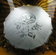 Gorgeous Stratton Silver Rose Vintage Compact, made in England